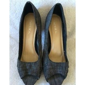 PAPRIKA Grey Peep Toe Canvas Stiletto Heel Shoe